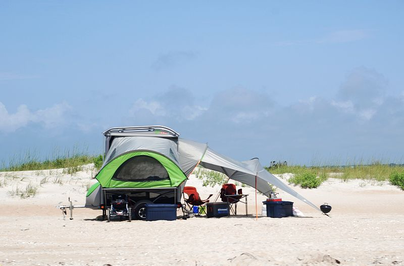 rv camping at beach
