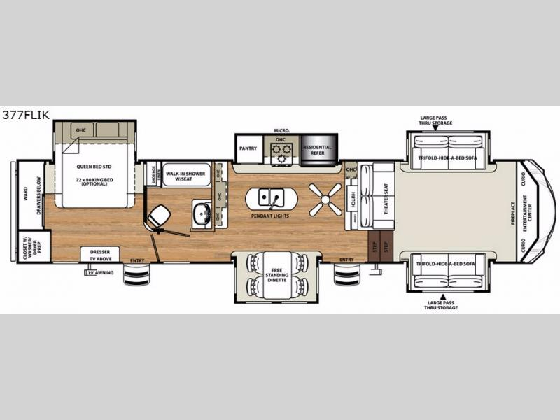 Front Living Fifth Wheel Floor Plans: Forest River Sandpiper 377FLIK Front Living Fifth Wheel