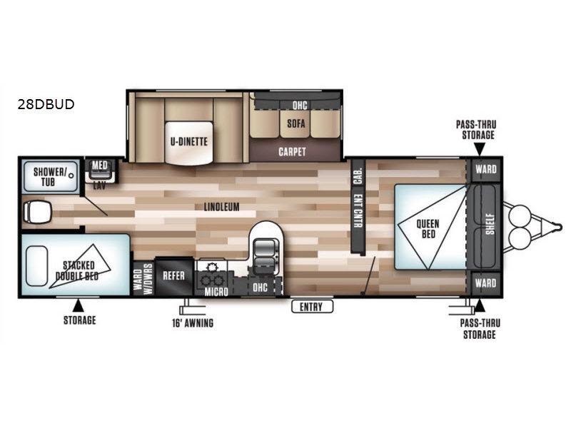Forest River Wildwood 28DBUD Bunkhouse Travel Trailer Floorplan