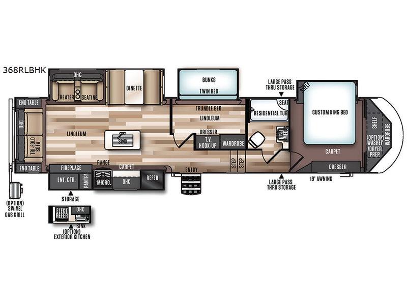 Wildwood Heritage Glen 368RLBHK Fifth Wheel Floorplan